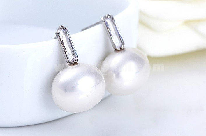 Exquisite Stylish OL Pearl 18K Gold Plating Drop Earring