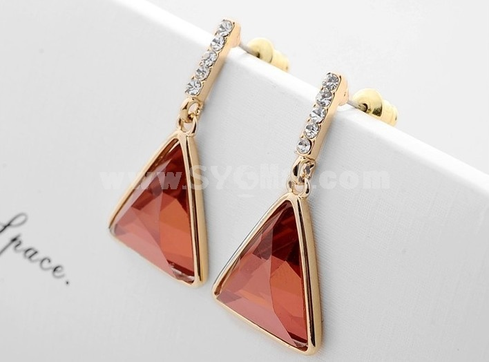 Exquisite Swarovski Element Crystal 18K Gold Plating Drop Earring