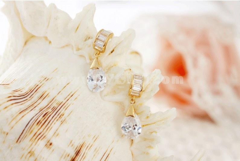 Exquisite Water Drop Shiny Zircon 18K Gold Plating Drop Earring