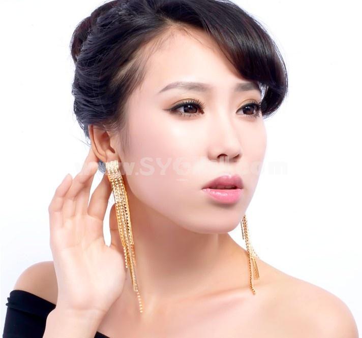 Exquisite Long Pattern Tassels Rhinestone Titanium Steel 18K Gold Plating Drop Earring