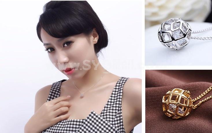 Women's Exquisite Hollow Ball Zircon 18K Gold Plating Choker