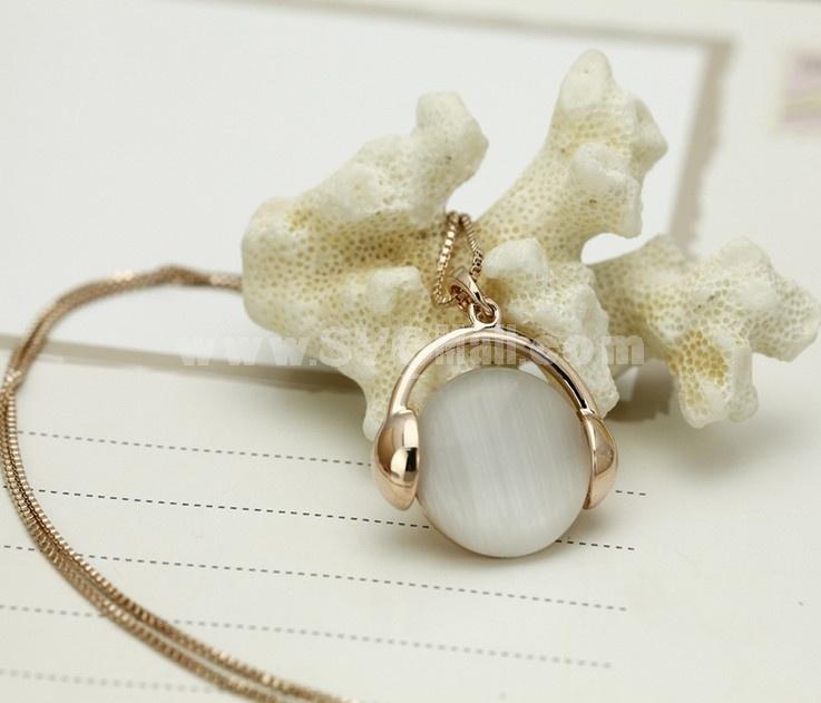 Women's Exquisite Round Opal Pattern Rose Gold  Choker