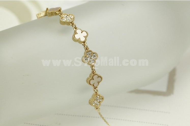 Women's Exquisite Clover Rhinestone Rose Gold Choker