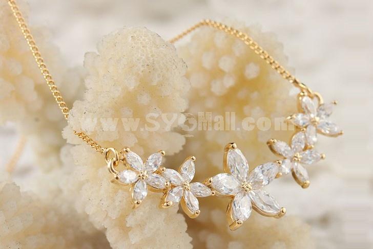 Women's Exquisite Elegant Zircon Flora  18K Gold Plating Choker