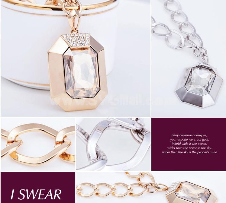 Stylish Swarovski Element Square Crystal Gold Plating Choker