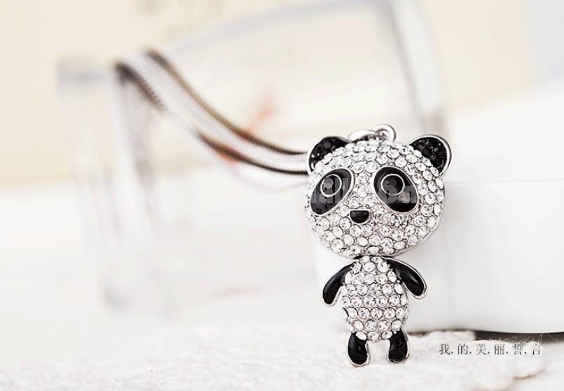 Stylish Cute Shiny Rhinestone Panda Gold Plating Sweater Chain