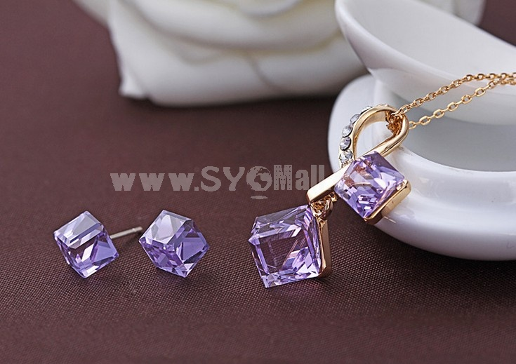 Swarovski Element Square Crystal Pattern Jewelry Set(One Necklace & A Pair of Earrings)