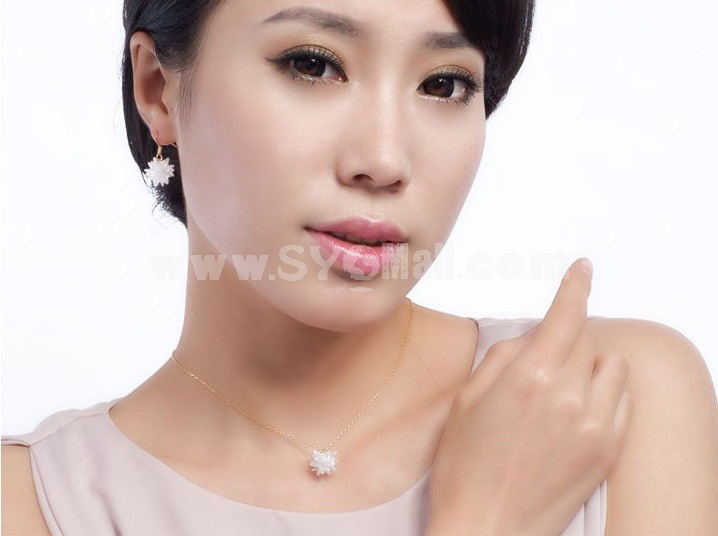Romantic Zircon Flora Pattern Jewelry Set(One Necklace & A Pair of Earrings)