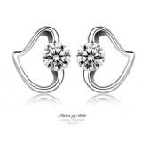 Wholesale - Classic Simple Heart Set Rhinestone 925 Sterling Silver Stud Earring