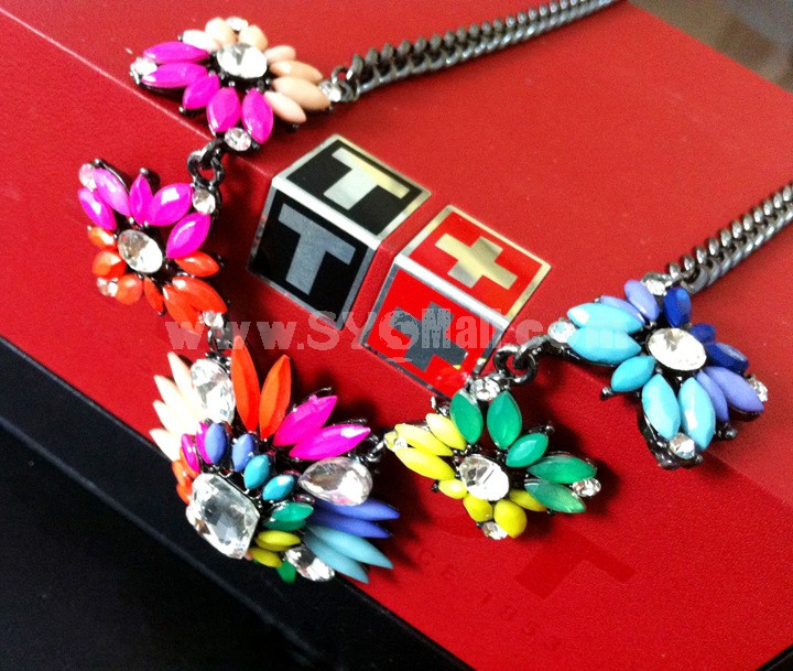 Exaggerate Luxurious Shiny Candy Color Alloy with Resin/Rhinestone Women Necklace Choker