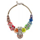 Wholesale - Hot Sale Exaggerate Luxurious Shiny Rainbow Flora Color Pattern Alloy with Resin/Rhinestone Women Necklace Choker