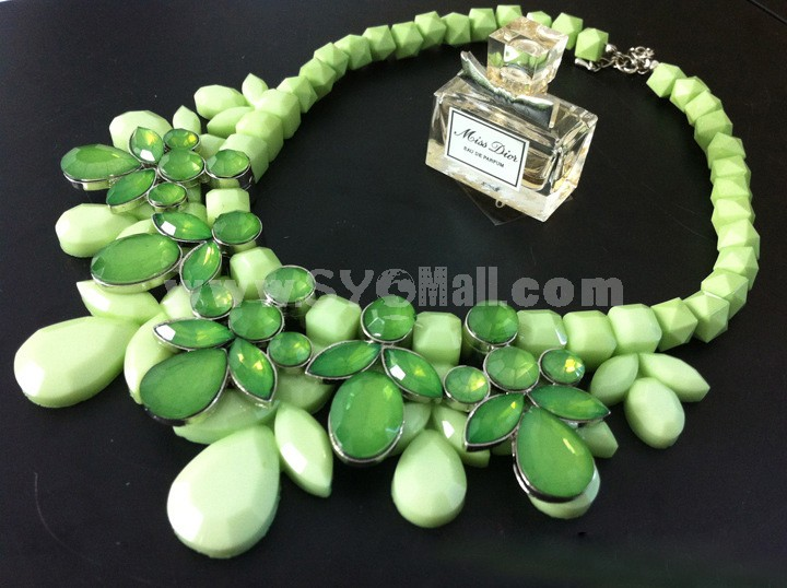 Exaggerate Luxurious Shiny Candy Color Chunky Alloy with Resin/Rhinestone Women Necklace Choker
