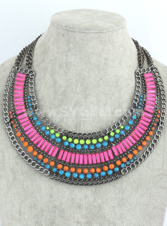 Exaggerate Luxurious Elegant Shiny Color Chunky Alloy with Resin/Rhinestone Women Necklace Choker Bib Necklace