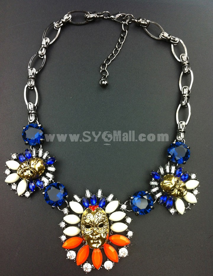 Exaggerate Luxurious Shiny Color Skull Pendant Chunky Alloy with Resin/Rhinestone Women Necklace Choker