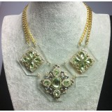 Wholesale - Exaggerate Luxurious Shiny Color Two-layer Chunky Alloy with Resin/Rhinestone Women Necklace Choker
