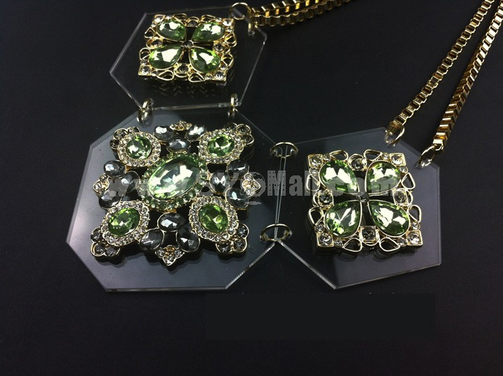 Exaggerate Luxurious Shiny Color Two-layer Chunky Alloy with Resin/Rhinestone Women Necklace Choker