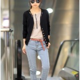 Wholesale - W357 Belt Decorated V-neck Single-breasted Jacket Short Coat
