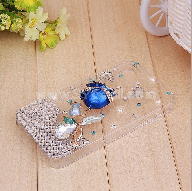 Bluelover Blue Rose Pattern Rhinestone Phone Case Back Cover for iPhone4/4S F0027
