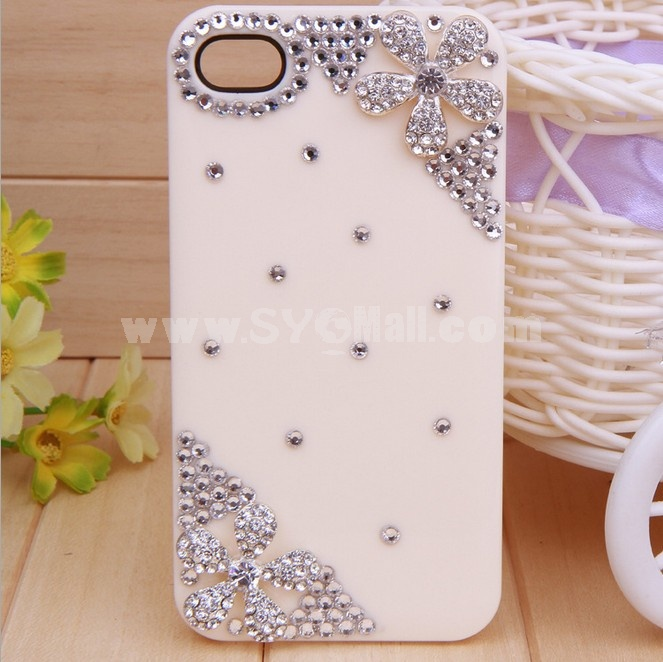 Bling Five Leaves Rhinestone Phone Case Back Cover for iPhone4/4S F0025