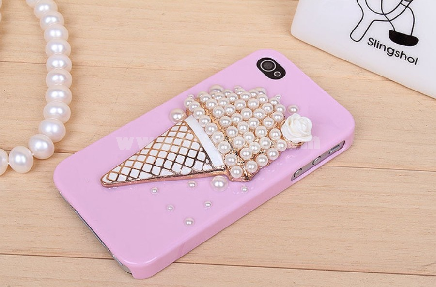 Ice Cream Pattern Rhinestone Phone Case Back Cover for iPhone4/4S iPhone5
