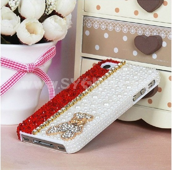 Pearl Bear Pattern Color Contrast Rhinestone Phone Case Back Cover for iPhone4/4S iPhone5