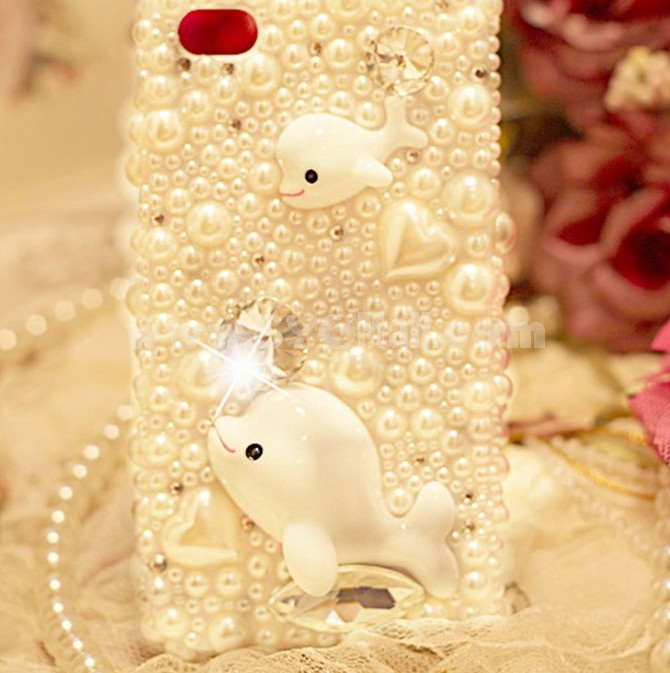 Whilte Pearl Dolphin Rhinestone Phone Case Back Cover for iPhone4/4S iPhone5
