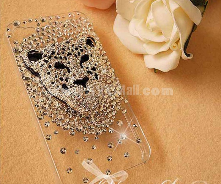 Cheetah Pattern Rhinestone Phone Case Back Cover for iPhone4/4S iPhone5