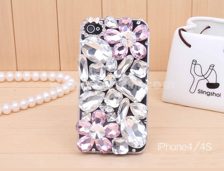 Large Size Rhinestones Decorated Phone Case Back Cover for iPhone4/4S iPhone5