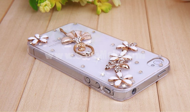 Crystal Dancing Girl Pattern Rhinestone Phone Case Back Cover for iPhone4/4S F0015