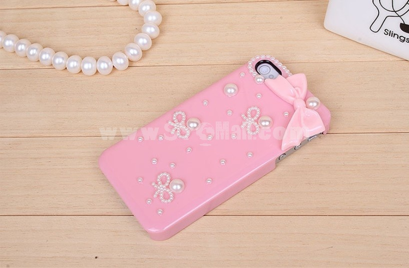 Bowknot with Pearl Pattern Rhinestone Phone Case Back Cover for iPhone4/4S iPhone5