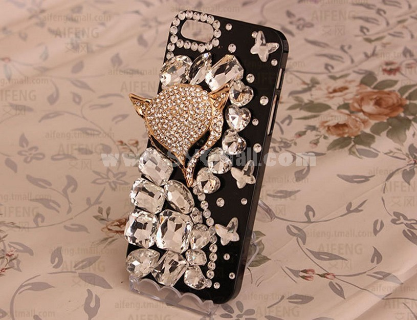 Fox Face Pattern Rhinestone Phone Case Back Cover for iPhone4/4S iPhone5