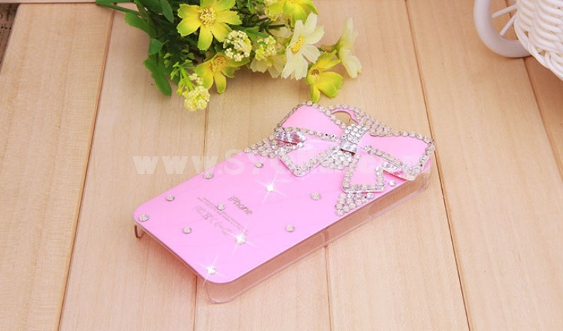 Lovely Bowknot Pattern Rhinestone Phone Case Back Cover for iPhone4/4S F0018
