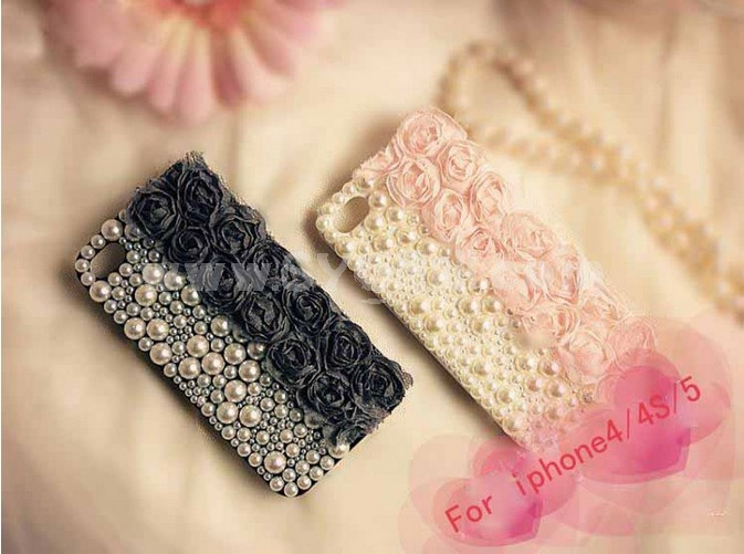 Half Lace & Half Pearl Pattern Rhinestone Phone Case Back Cover for iPhone4/4S iPhone5