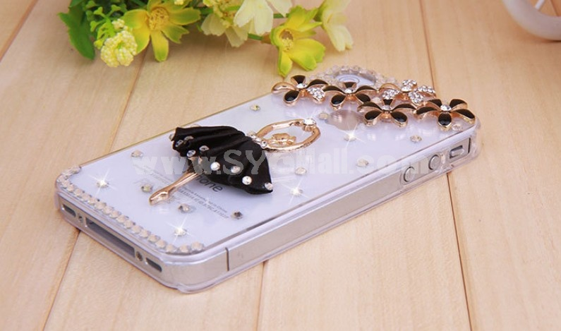 Ballet Girl Pattern Rhinestone Phone Case Back Cover for iPhone4/4S