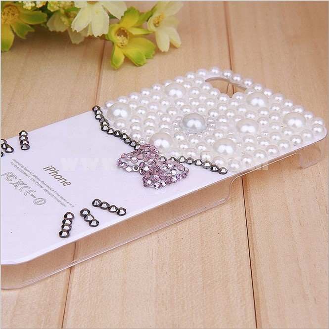 Classical Cat Face Pattern Rhinestone Phone Case Back Cover for iPhone4/4S F0028