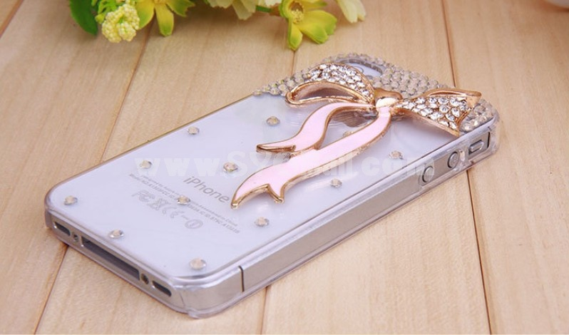 Lovong Heart Ribbon Pattern Rhinestone Phone Case Back Cover for iPhone4/4S F0024