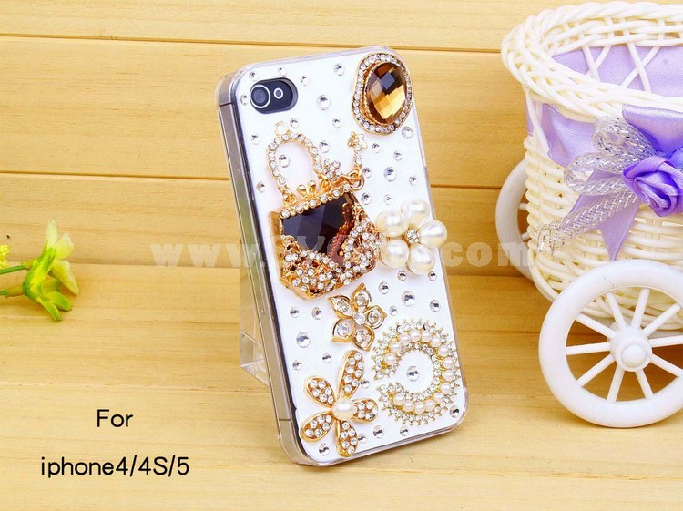 Genstone & Bag Pattern Rhinestone Phone Case Back Cover for iPhone4/4S iPhone5