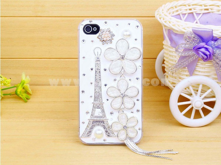 Eiffel Tower & Sakura Rhinestone Phone Case Back Cover for iPhone4/4S iPhone64