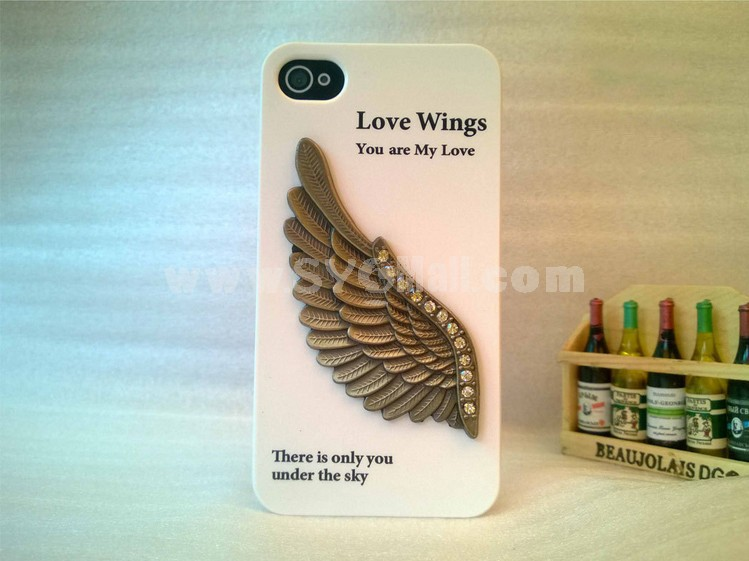 Male Eagle/Wing Pattern Rhinestone Phone Case Back Cover for iPhone4/4S iPhone5