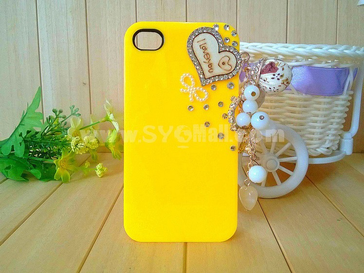 Loving Heart Pattern Rhinestone Phone Case Back Cover for iPhone4/4S