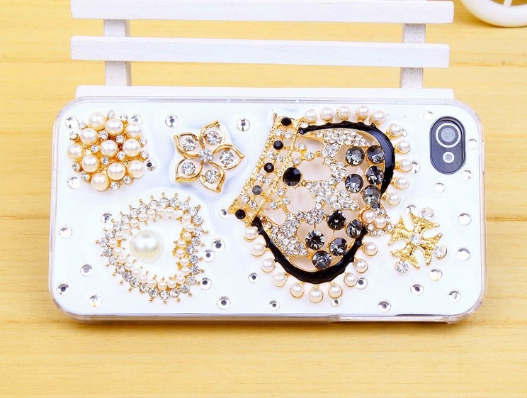 Crown & Loving Heart Pattern Rhinestone Phone Case Back Cover for iPhone4/4S