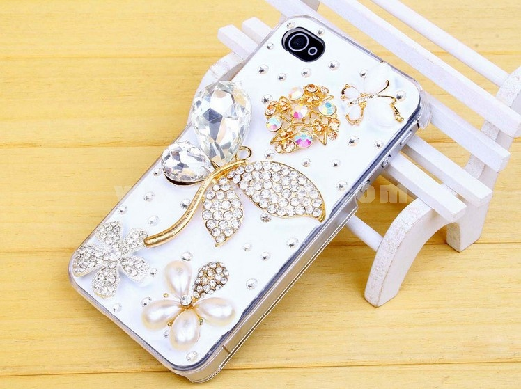 Crystal Butterfly & Flower Rhinestone Phone Case Back Cover for iPhone4/4S iPhone5