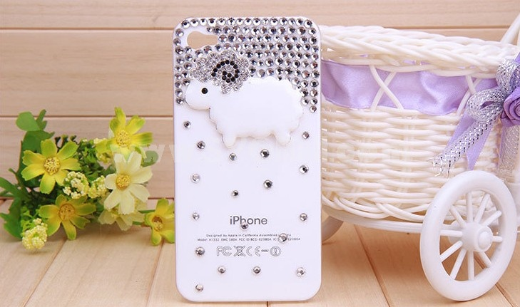 Little Sheep Pattern Rhinestone Phone Case Back Cover for iPhone4/4S F0001