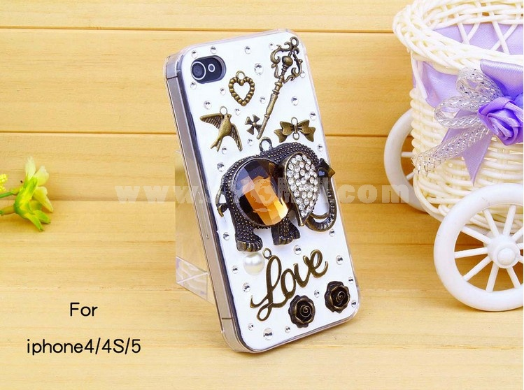 Cute Elephant Pattern Rhinestone Phone Case Back Cover for iPhone4/4S iPhone5