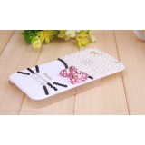 Wholesale - Lovely Kitten Face Pattern Rhinestone Phone Case Back Cover for iPhone4/4S F0007