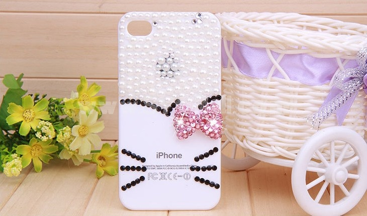 Lovely Kitten Face Pattern Rhinestone Phone Case Back Cover for iPhone4/4S F0007