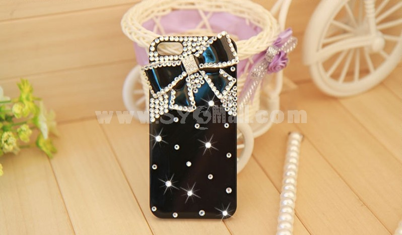 Bling Bling Big Bowknot Pattern Rhinestone Phone Case Back Cover for iPhone5 F0025