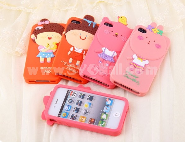 Lovely Pattern Silicone Case for iPhone4/4s