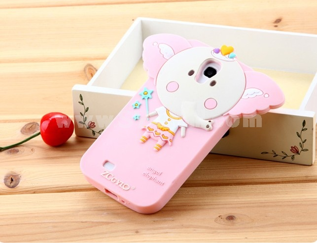 Lovely Pink Elephant Pattern Silicone Case for Samsung 9500