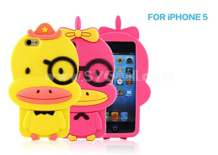 Lovely Duck Pattern Silicone Case for iPhone5
